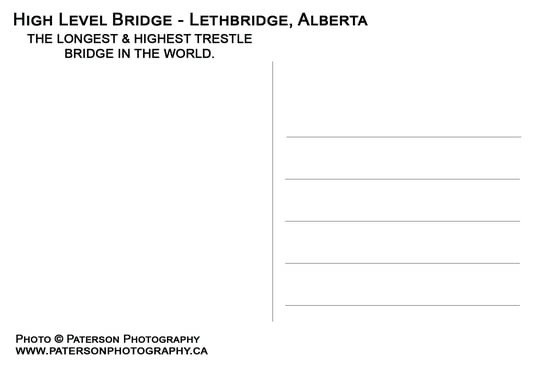 Postcard back - high level bridge Lethbridge