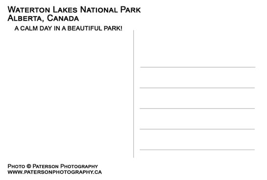 Waterton Lakes National Park Postcard Back
