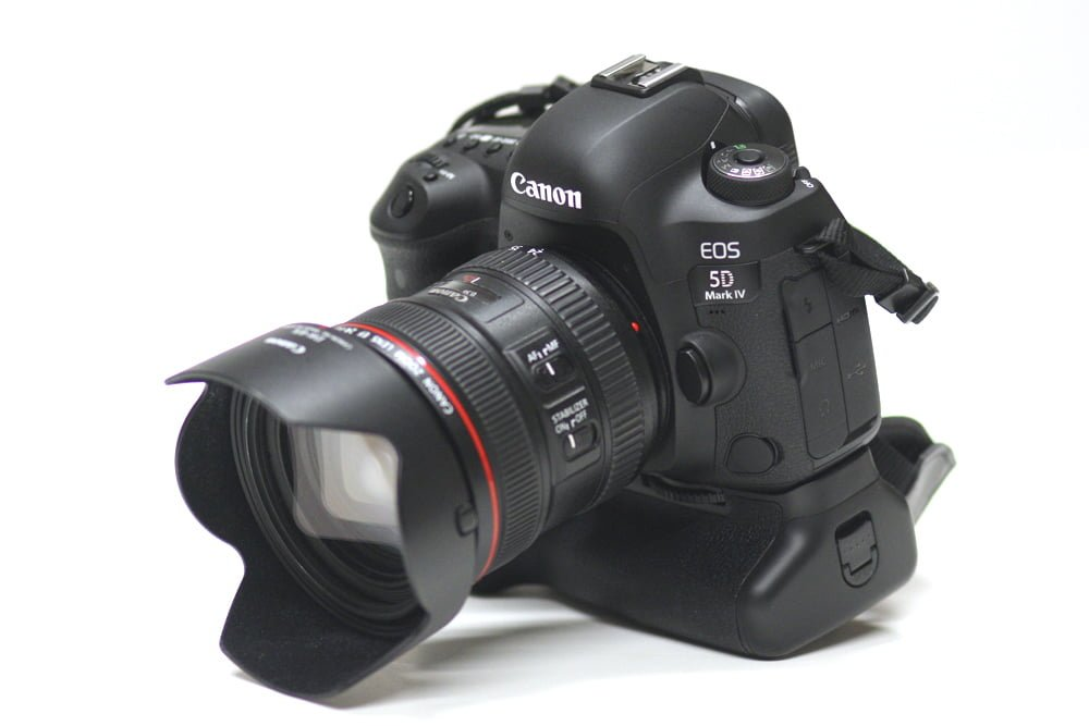 Canon 5D Mark IV with grip / battery holder.