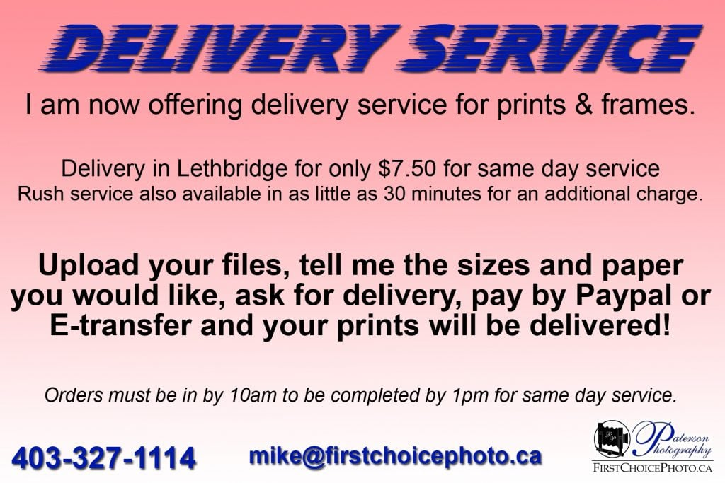 Photo printing Lethbridge Delivery, photo lab, photography printing
