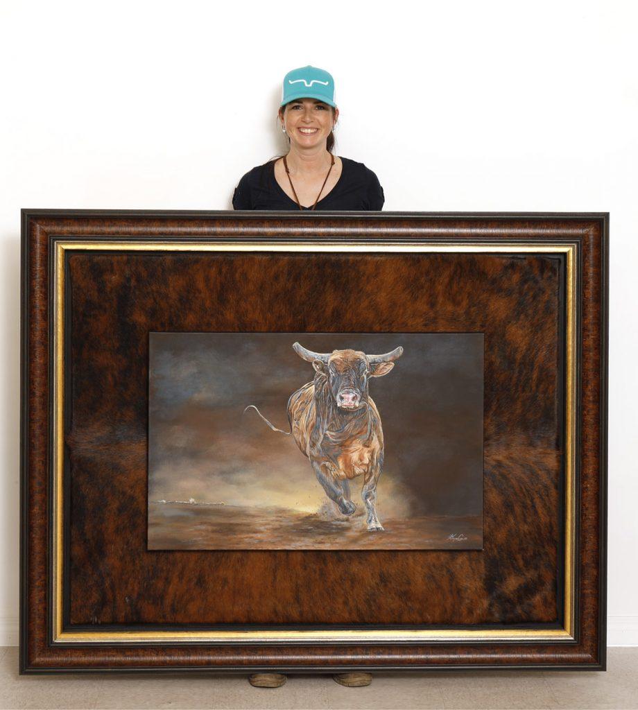 Artist Karen Coe with one of her prints I had the privilege of digitizing