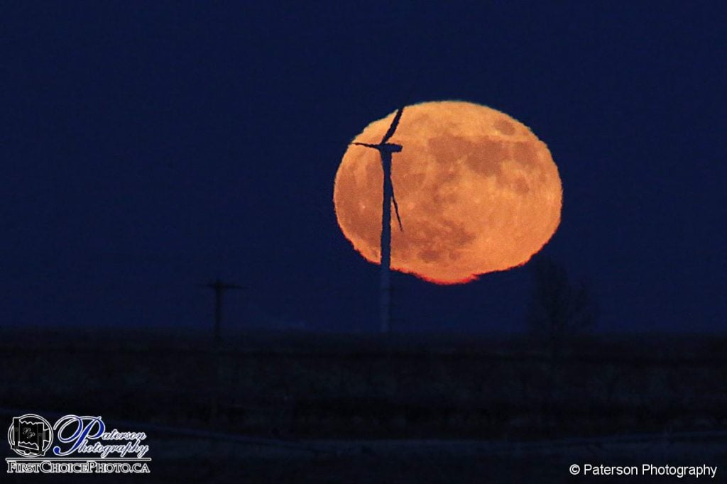 Full moon rising with a windmill in front