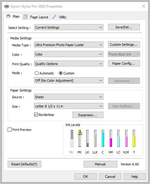Epson 3880 Printer printing screen - No color adjustment