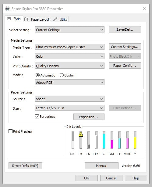 Epson 3880 Printer Print Screen