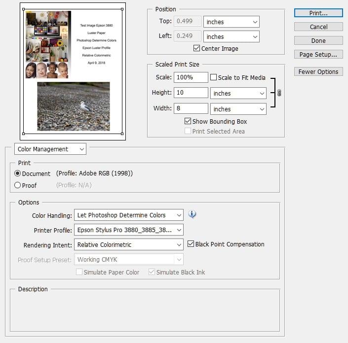 Adobe Photoshop Printing Screen with Epson profile