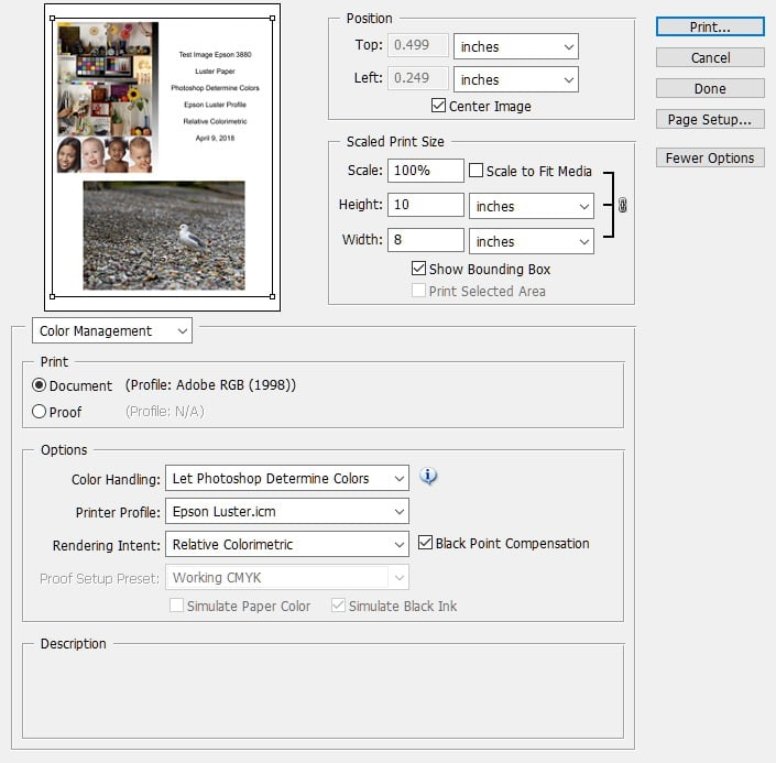 Adobe Photoshop Printing Screen with custom profile