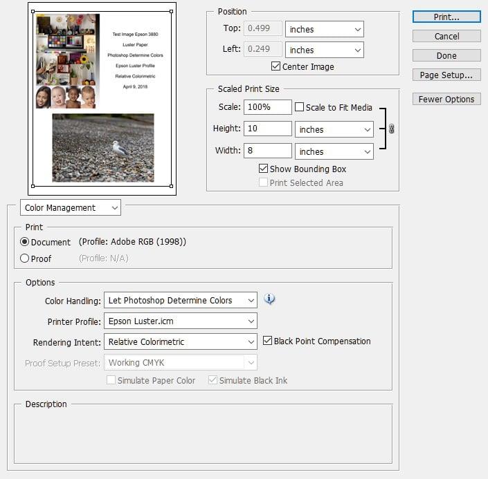 Photo printing - custom profile or canned profile