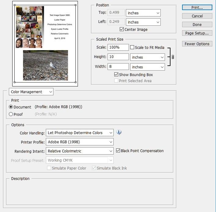 Adobe Photoshop print screen