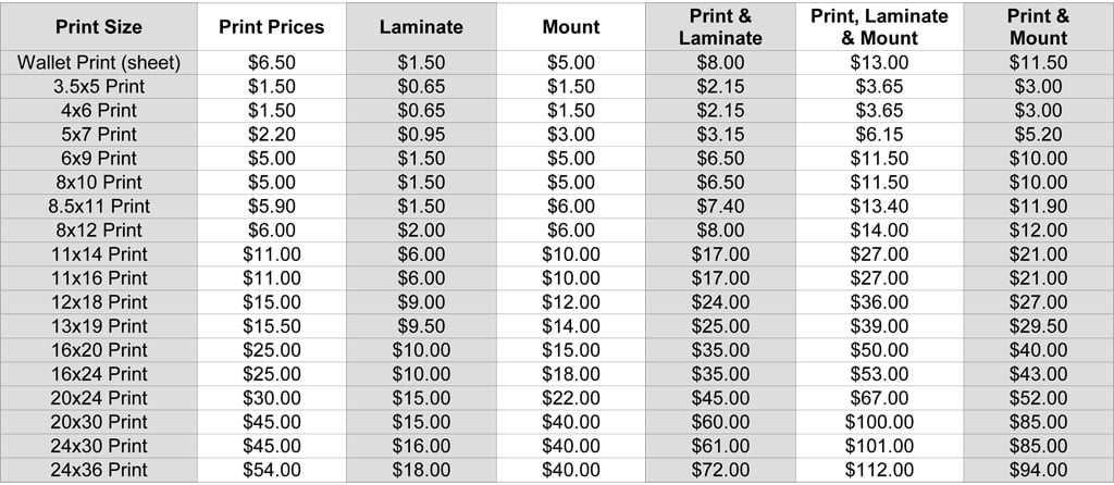 Lethbridge Photo Lab Print prices standard photo paper
