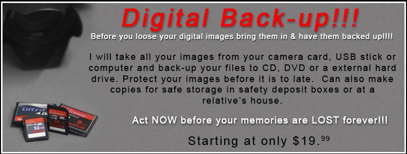 Digital file back-up and Photo restoration
