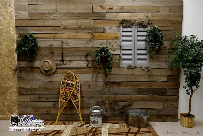 Studio rental - Barn wood backdrop with assorted props - Backdrop is 11' wide by 8' high